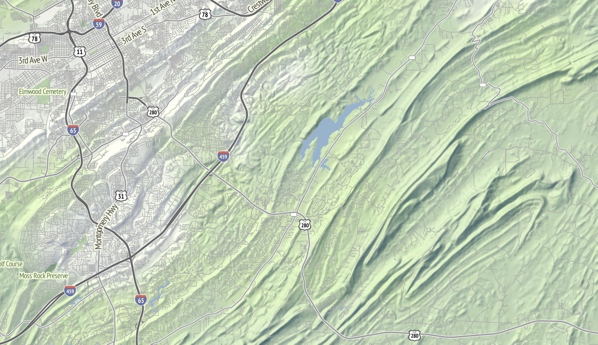 i continue to be fascinated by the topography of the appalachians birmingham has this incredible swirl hill to its immediate southeast and i wonder if any